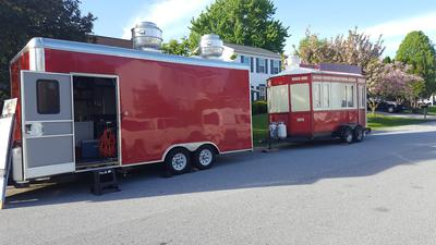We have two trailers big red can travel to any state, small trailer local