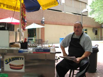 Dennis at the hotdog stand.
