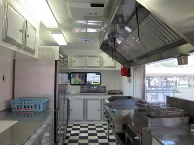 Fryer,chrome plated griddle,charbroiler, fire suppression system.
