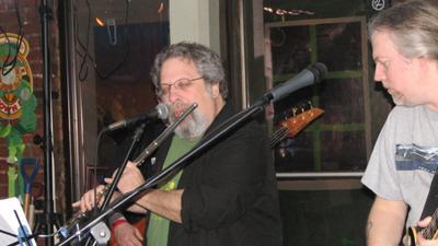 Lead singer Steve playing flute during Jethro Tull's