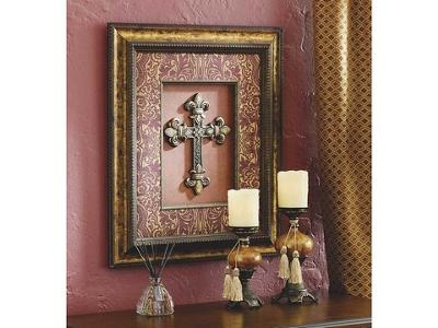 Cross Picture and Candle Holders