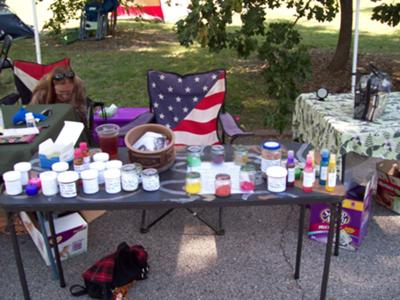 Booth setup at St. Louis Pagan Picnic 2012.