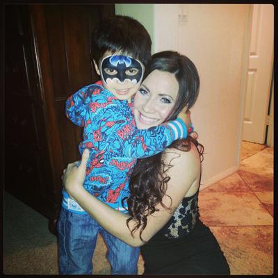 Cynnamon and one of her favorite super heros.