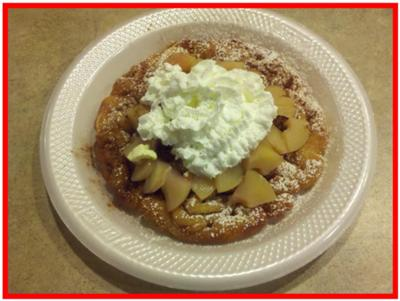 Apples and Cinnamon Funnel Cake.