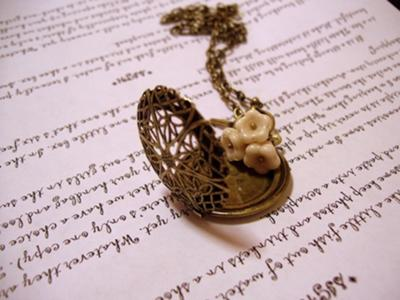 Creme Brulee Bride Locket Necklace.