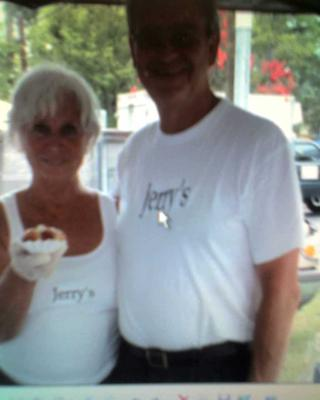 Jerry and I selling our first hot dog.