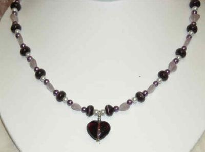 12111N - Necklace - Amethyst Heart