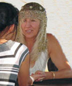 Lindy wearing her Famous Headress.