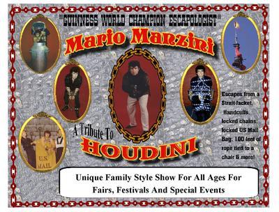 Mario Manzini-Houdini Show Poster For Fairs & Festivals