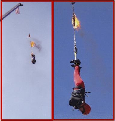 Mario Manzini. Aerial Strait-Jacket Escape Suspended Upside Down 100-1,000 Feet In The Air From A Burning Rope.