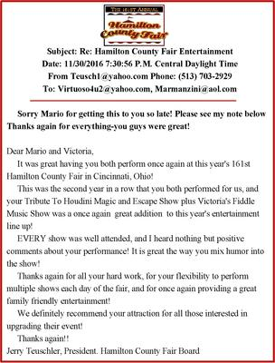 Testimonial Letter from Hamilton County Fair in Cincinnati, OH Booked 2 years in a row.