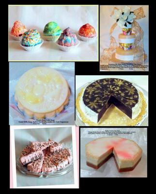 Milly Verchar Sweet Body Treats, Moisturizing Cup Cake Soaps, Wedding Cake Soap, Fruit Layer Cake Soap, Honey Cake Soap, Strawberry & Chocolate Cake Soap, Carrot Cake Soap
