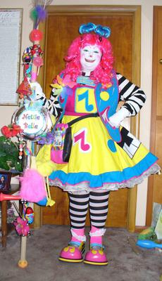 Nettie Belle the Clown with PINK hair