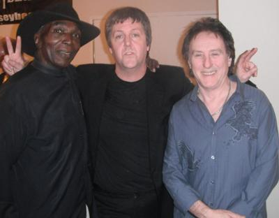 With Wings guitarist Denny Laine and Jimi Hendrix's percussionist Juma Sultran.