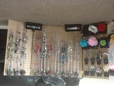 Display of earrings, bracelets and necklaces.