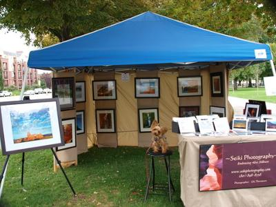 Photo of my booth at an outdoor market.
