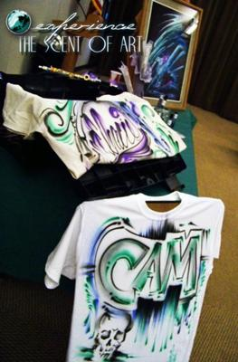 The Scent Of Art - promotional airbrush t-shirts custom made in the spot by artist.
