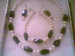 Just One Of Our Creations -  A Green Jade and White Pearl Necklace, Bracelet & Earring Set