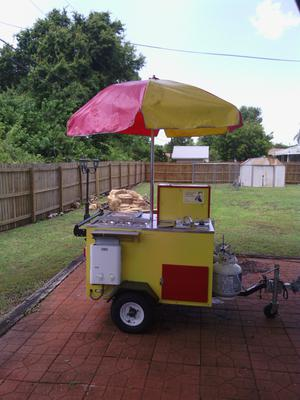 Yellow Hot Dog Cart