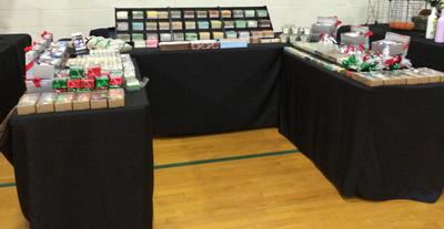 Booth at indoor Festival.