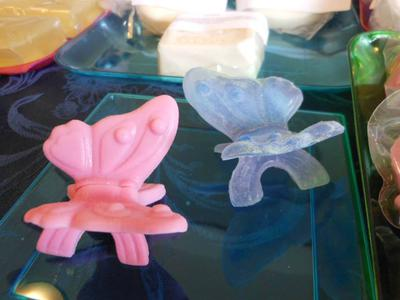 Pink butterfly is made with shea butter soap peppermint fragrance. Purple Butterfly aloe soap, Lilac scent.