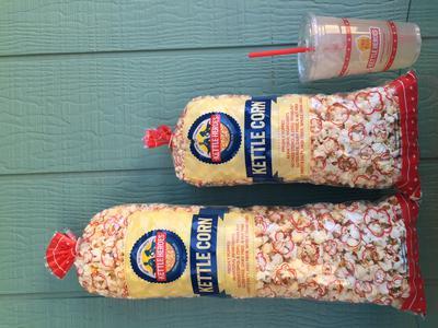 Large Kettle Corn (2 gallon)-$7, Small Kettle Corn (1.25 gallon)-$5, Lemonade (24 oz)-$3.